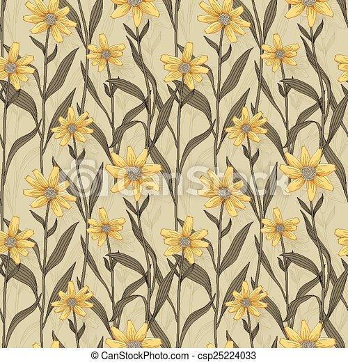 retro daisy seamless pattern - csp25224033