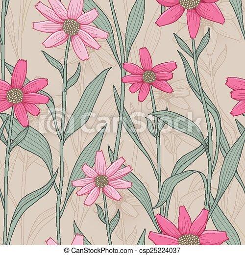 retro daisy seamless pattern - csp25224037
