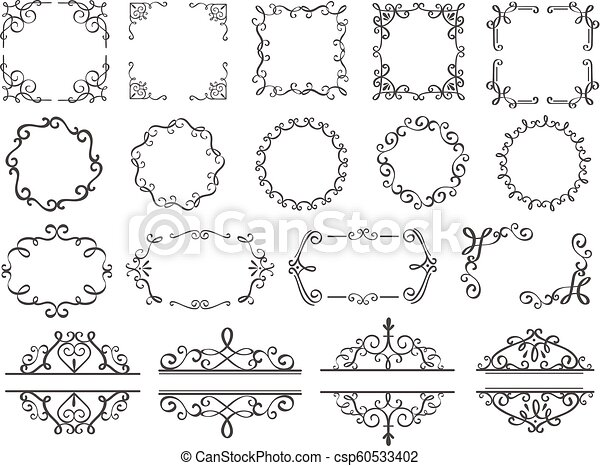 . Retro decoration frames  Vintage filigree swirls border  elegant decorative  frame and ornate divider classic elements vector set