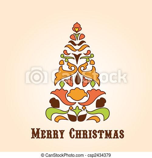 retro design Christmas greeting card - csp2434379