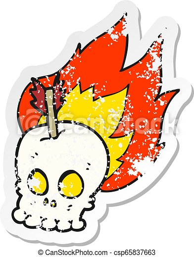 retro distressed sticker of a cartoon skull with arrow - csp65837663