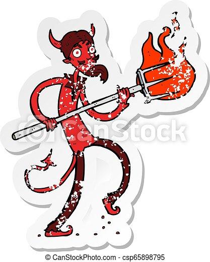retro distressed sticker of a cartoon devil with pitchfork - csp65898795