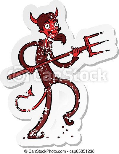 retro distressed sticker of a cartoon devil with pitchfork - csp65851238