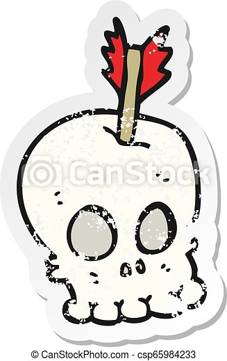 retro distressed sticker of a cartoon skull with arrow - csp65984233