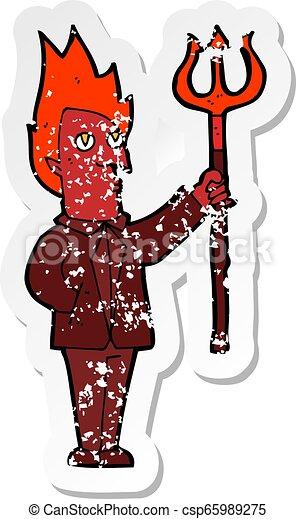 retro distressed sticker of a cartoon devil with pitchfork - csp65989275