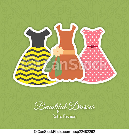 Retro Dresses Background Vector Illustration With Stickers For