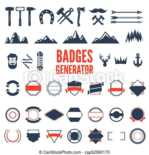 Retro Emblem Generator Is Set Of Icons Badges Ribbons And Other Useful Design Elements For Retro Emblem Vector Art Retro