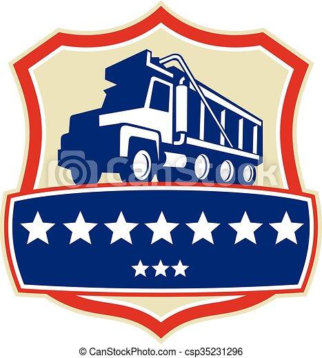 retro, essieu, camion, décharge, étoiles, crête, triple - csp35231296