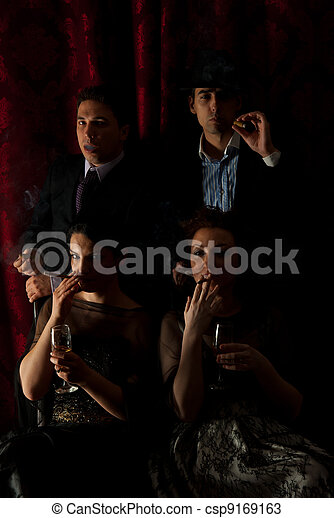 Retro families smoking in darkness - csp9169163