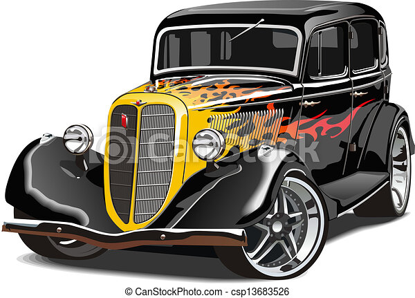 retro, feltuningolt autó - csp13683526