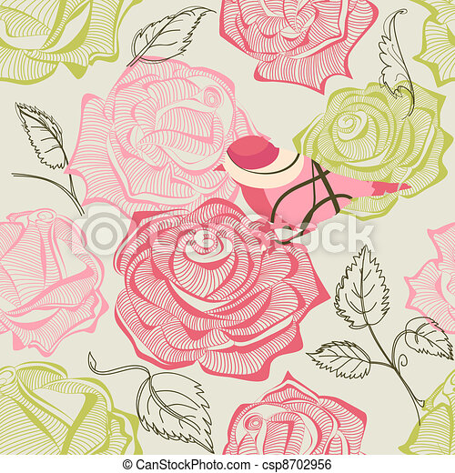 Retro floral and bird seamless pattern - csp8702956