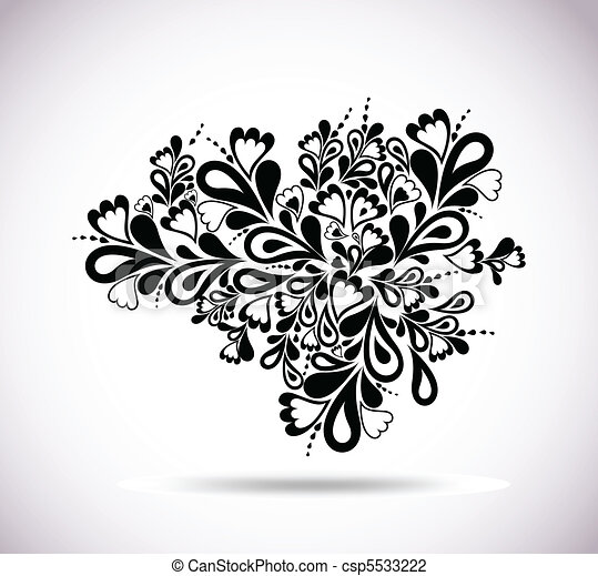 Retro floral design. Abstract vector element - csp5533222