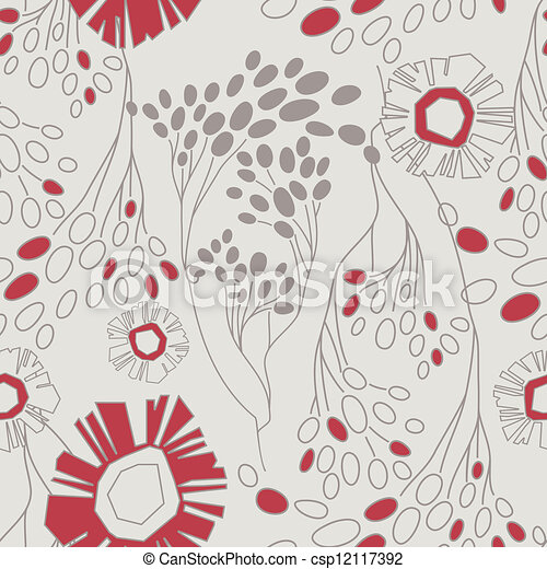 retro floral pattern with flowers seamlessly - csp12117392