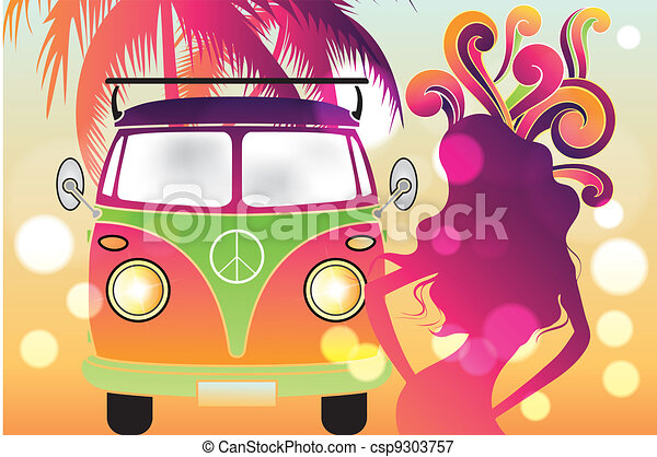 retro flower power design with retro car swirls and abstract silhouettes of tree and woman in. Black Bedroom Furniture Sets. Home Design Ideas