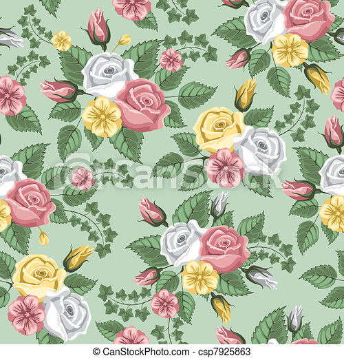 Retro flower seamless pattern - roses - csp7925863