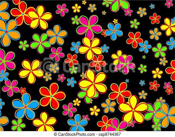 Retro Flower Wallpaper Design - csp9744367