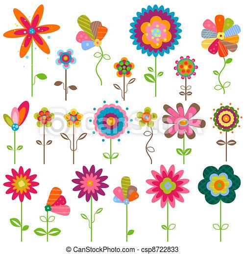 retro flowers - csp8722833