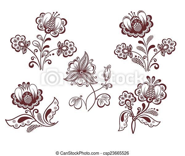 Retro flowers - csp23665526