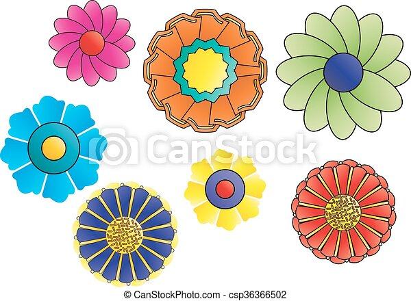 retro flowers - csp36366502