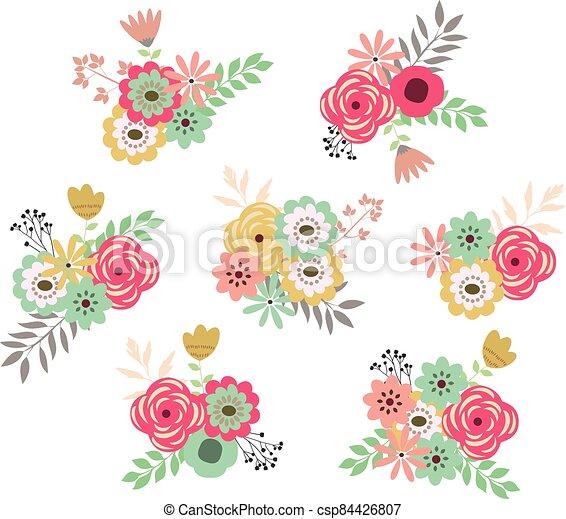 retro flowers - csp84426807