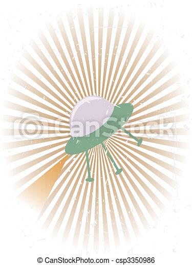 Retro Flying UFO Grunge Background - csp3350986