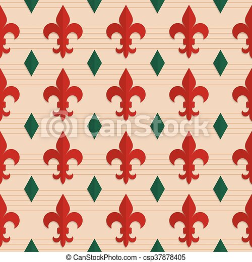 Retro Fold Red Fleur De Lis And Green Diamondsabstract Geometrical
