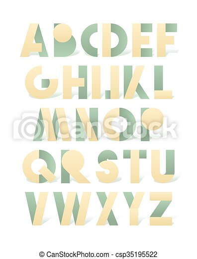 Retro font in green and yellow. Beige alphabet. Realistic letters - csp35195522