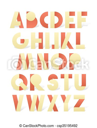 Retro font in red and yellow. Beige alphabet with shadow - csp35195492