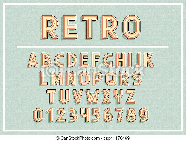Retro fonts and abc letters print typography vector ...