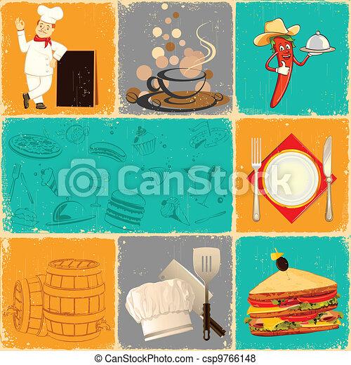 Retro Food Collage - csp9766148