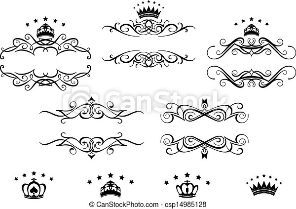 Retro frames set with royal crowns - csp14985128