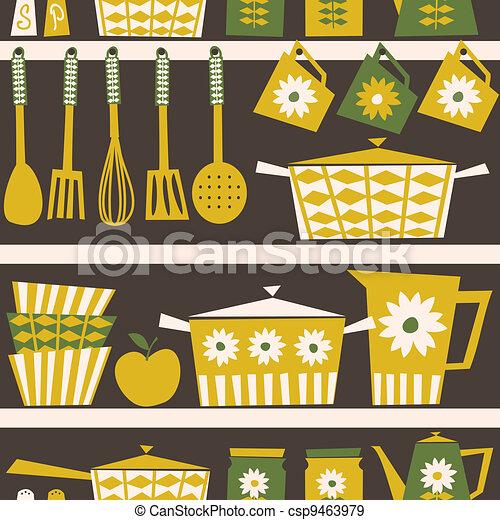 retro, fundo, cozinha - csp9463979