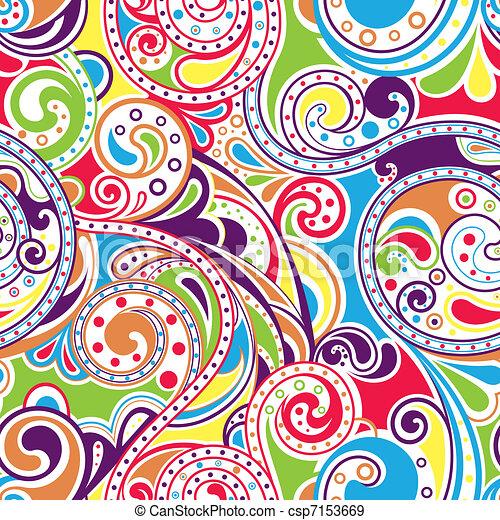 Retro Funky Scroll Pattern 4 Illustration Of Seamless