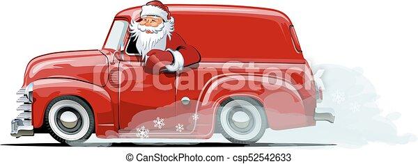 retro, furgão, natal, caricatura - csp52542633
