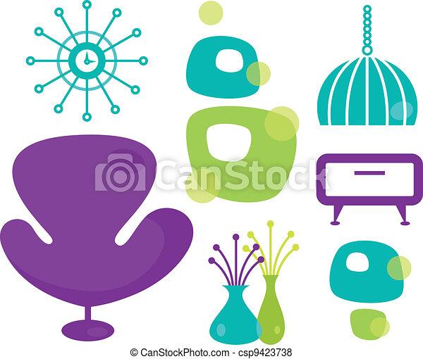 Retro furniture set isolated on white - csp9423738