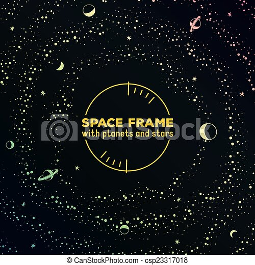 Retro Futuristic Frame With Space Stars And Planets