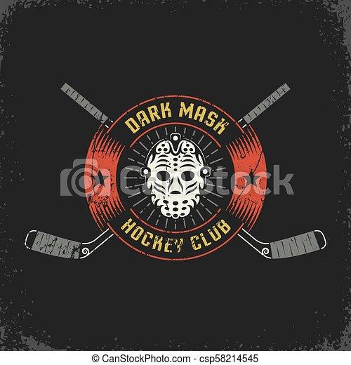 Hockey Logo With Retro Goalie Mask And Crossed Sticks Layered
