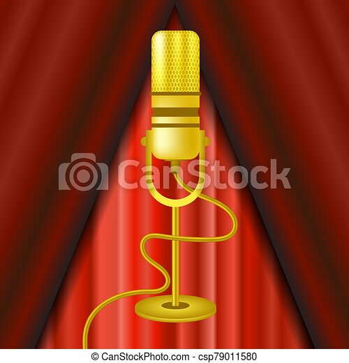 Retro Gold Microphone Icon Isolated on Red Curtain Background - csp79011580