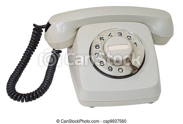 Retro gray dial telephone isolated on white background - csp9937560