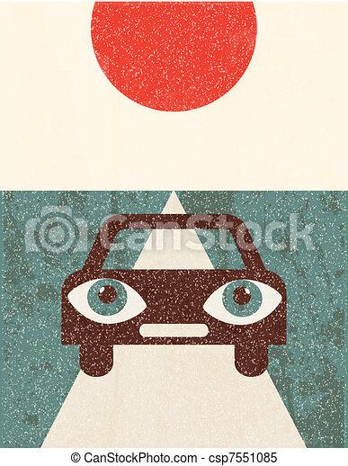 Retro grunge poster. Car - csp7551085