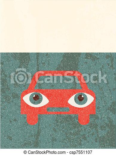 Retro grunge poster. Car - csp7551107