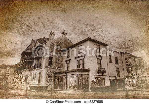 Retro Grunge Style Vintage Photo Treatment Of Seaside Town