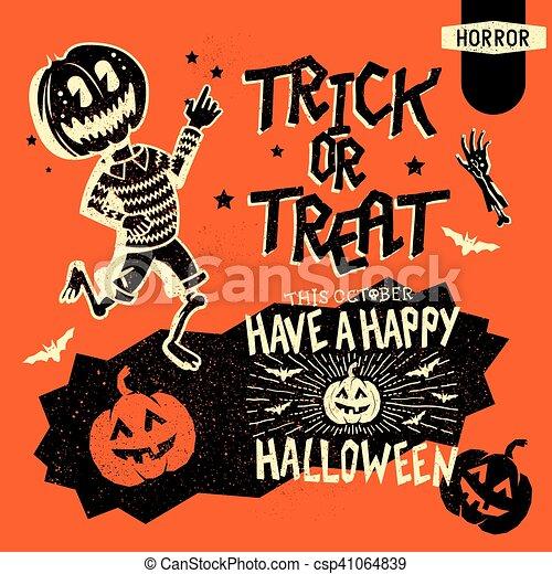Retro Vintage Halloween Clip Art.Retro Halloween Elements