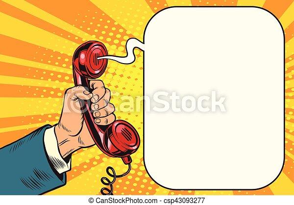 Retro handset in hand - csp43093277