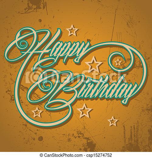 Retro Happy Birthday Greeting Vector Illustration