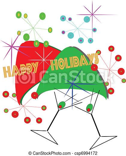 retro happy holidays csp6994172