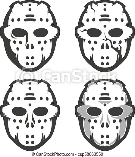 Retro Hockey Goalie Mask Set Of Four Options Monochrome Vector