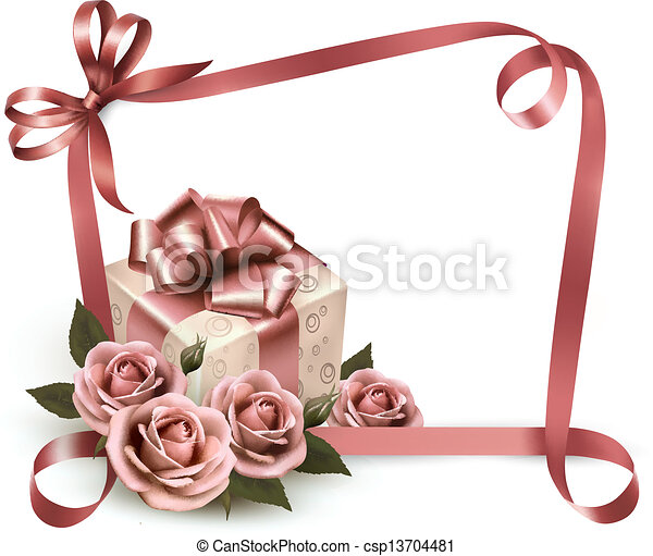 Retro holiday background with pink roses and gift box. Vector illustration. - csp13704481