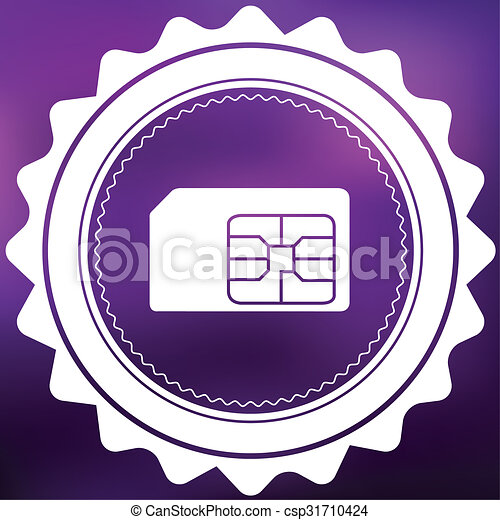 Retro Icon Isolated on a Purple Background - SIM Card - csp31710424