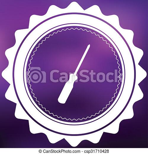 Retro Icon Isolated on a Purple Background - Screwdriver - csp31710428